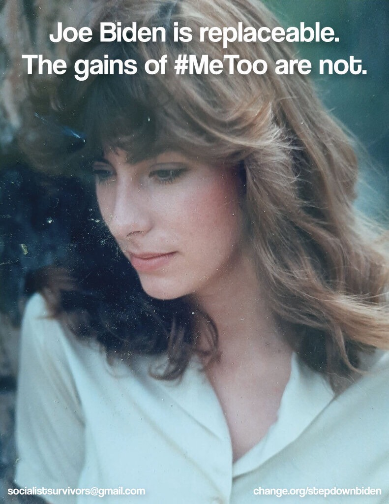 """Old photograph of Tara Reade with the text """"Joe Biden is replaceable. The gains of #MeToo are not."""""""